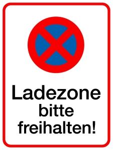 Ladezone bitte freihalten! Aluminium geprägt; 400 x 300 mm