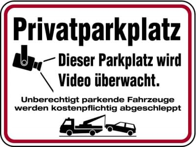 Vorschaubild für Privatparkplatz - Dieser Parkplatz wird videoüberwacht. Aluminium geprägt; 300 x 400 mm