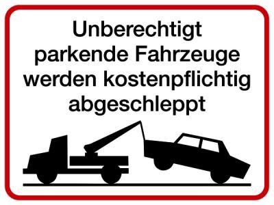 Vorschaubild für Unberechtigt parkende Fahrzeuge Aluminium geprägt; 300 x 400 mm
